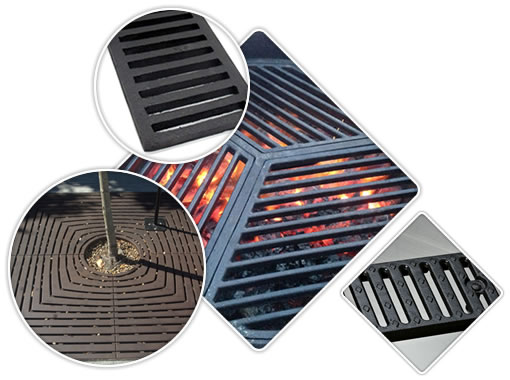 There are two rectangle drain gratings with one row drainage holes, a round barbecue grating and a square tree grate.