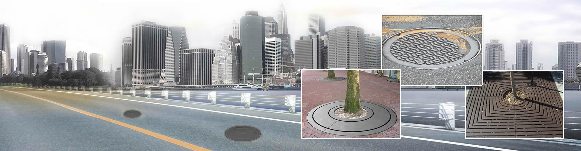 Two cast iron manhole covers are on the city road, a manhole cover and two tree gratings are embedded in the picture.