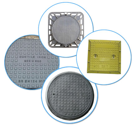There are two FRP manhole covers in black and yellow, a square ductile iron manhole cover and a round cast iron manhole cover.