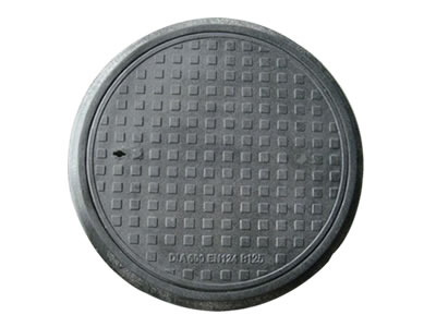 A green square FRP manhole cover which has round blocks, outer is frame.