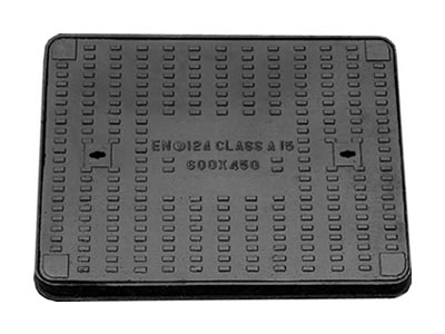 A rectangle ductile iron manhole cover which can bear 1.5 tons, has 600 mm length and 450 mm width.