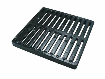 A square cast iron grating with two row drainage holes and three row round projections.