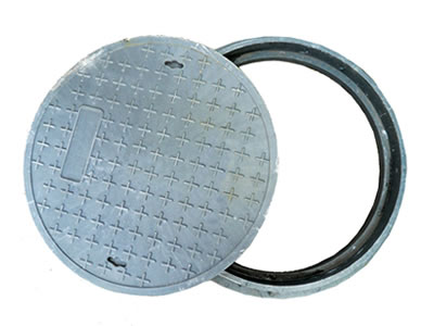 A gray round FRP manhole cover with many cross shapes, two drainage holes and frame.