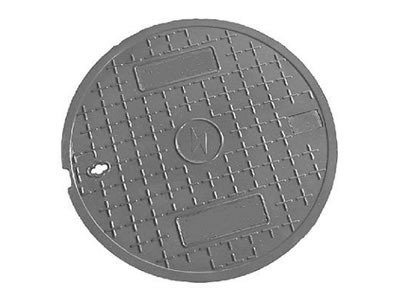 A Gray round FRP manhole cover with many cross shapes and a drainage hole.