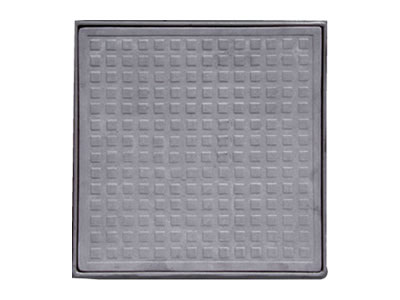 A gray square FRP manhole cover which has square blocks, outer is frame.