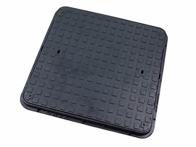 A square ductile iron manhole cover which can bear 12.5 tons with two drainage holes, square blocks and frame.