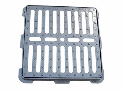 A square ductile iron grating with three row drainage holes, many round projections and frame.