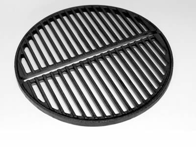 A round cast iron grating includes two parts which has strip holes.