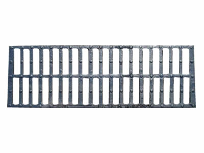 A rectangle cast iron grating with two row drainage holes and five row round projections.
